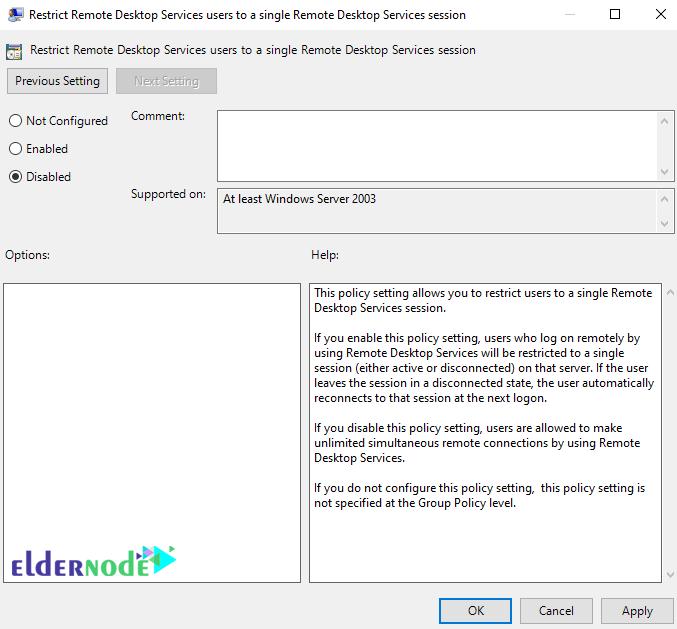 Restrict Remote Desktop Services user to a single session