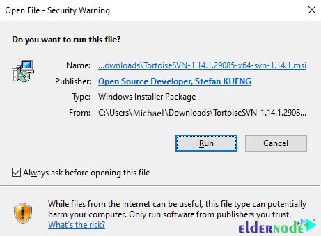 ready to install TortoiseSVN on windows