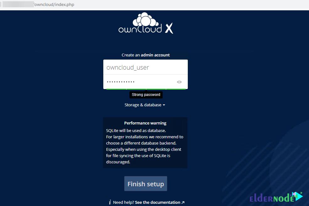 create an admin account for OwnCloud