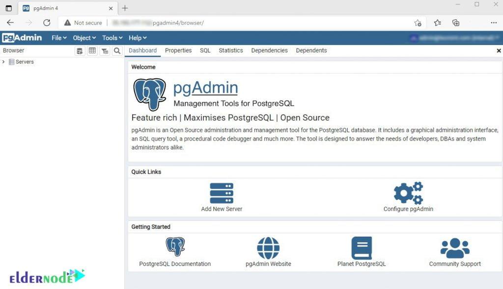 PgAdmin Dashboard settings